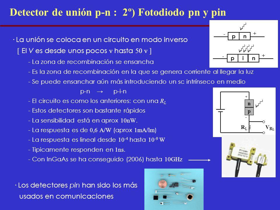Detector de unión p-n : 2º) Fotodiodo pn y pin · La unión se coloca en un circuito en modo inverso [ El V es desde unos pocos v hasta 50 v ] - La zona de recombinación se ensancha - Es la zona de recombinación en la que se genera corriente al llegar la luz - Se puede ensanchar aún más introduciendo un sc intrínseco en medio p-np-i-n - El circuito es como los anteriores: con una R L - Estos detectores son bastante rápidos - La sensibilidad está en aprox 10nW.