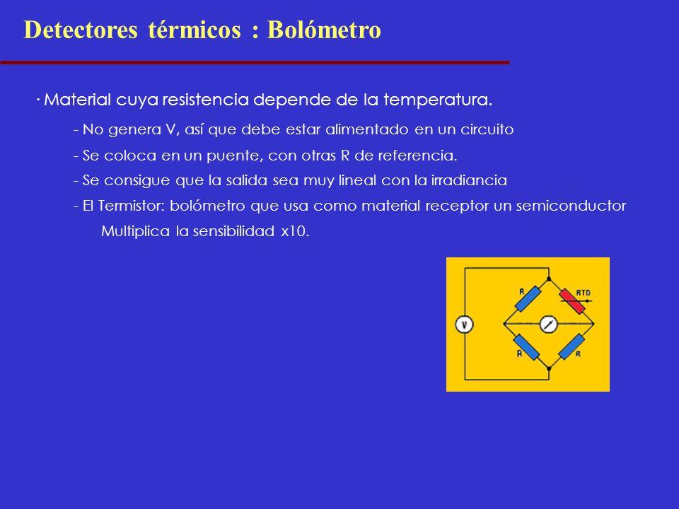 Detectores térmicos : Bolómetro · Material cuya resistencia depende de la temperatura. - No genera V, así que debe estar alimentado en un circuito - S