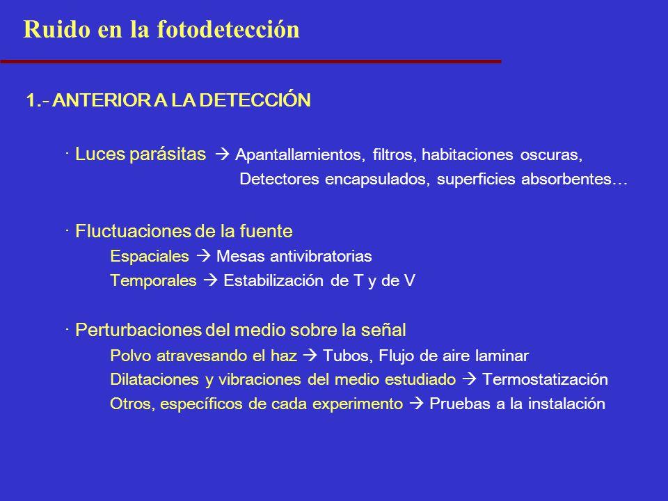 1.- ANTERIOR A LA DETECCIÓN · Luces parásitas Apantallamientos, filtros, habitaciones oscuras, Detectores encapsulados, superficies absorbentes… · Flu