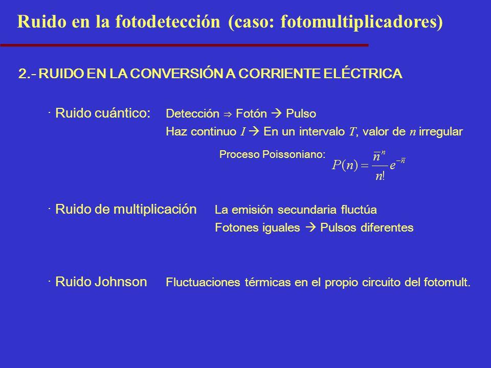 Ruido en la fotodetección (caso: fotomultiplicadores) 2.- RUIDO EN LA CONVERSIÓN A CORRIENTE ELÉCTRICA · Ruido cuántico: Detección Fotón Pulso Haz continuo I En un intervalo T, valor de n irregular · Ruido de multiplicación La emisión secundaria fluctúa Fotones iguales Pulsos diferentes · Ruido Johnson Fluctuaciones térmicas en el propio circuito del fotomult.