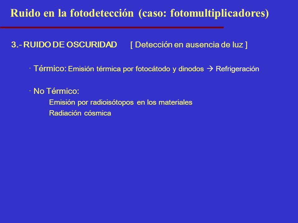 3.- RUIDO DE OSCURIDAD[ Detección en ausencia de luz ] · Térmico: Emisión térmica por fotocátodo y dinodos Refrigeración · No Térmico: Emisión por rad