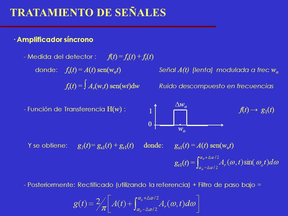 TRATAMIENTO DE SEÑALES · Amplificador síncrono - Medida del detector : f(t) = f s (t) + f r (t) donde: f s (t) = A(t) sen(w o t) Señal A(t) [lenta] mo