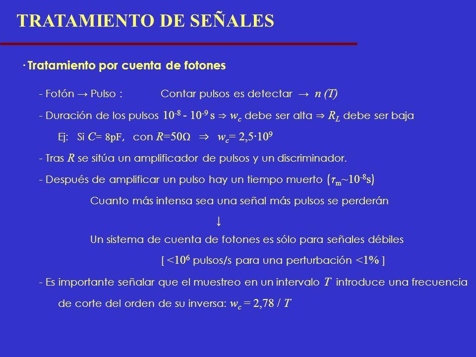 TRATAMIENTO DE SEÑALES · Tratamiento por cuenta de fotones - Fotón Pulso :Contar pulsos es detectar n (T) - Duración de los pulsos 10 -8 - 10 -9 s w c