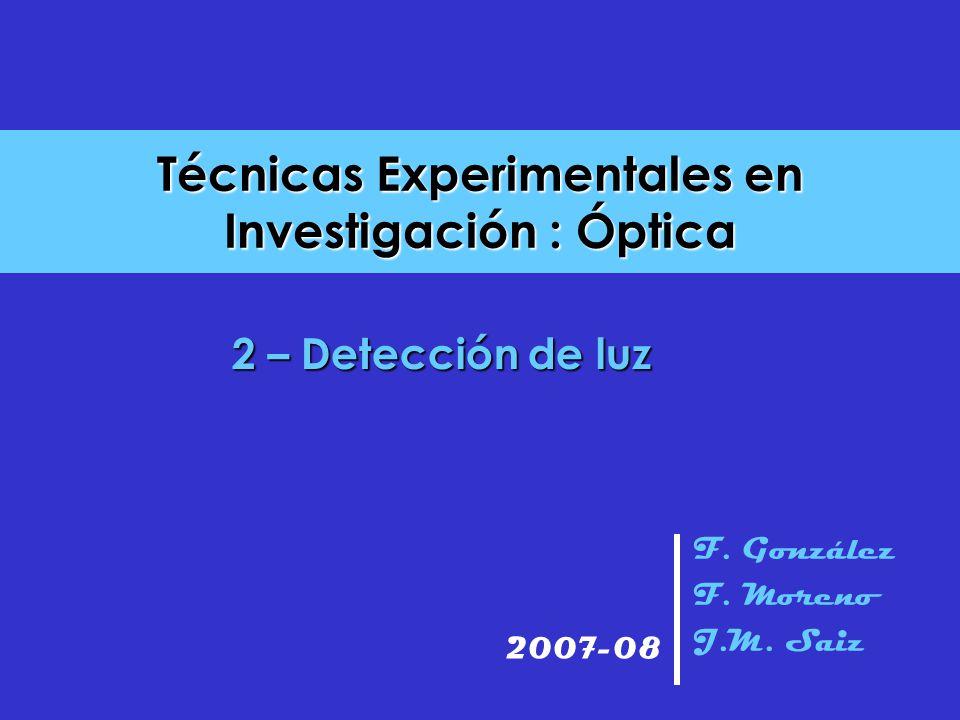 Técnicas Experimentales en Investigación : Óptica F. González F. Moreno J.M. Saiz 2007-08 2 – Detección de luz