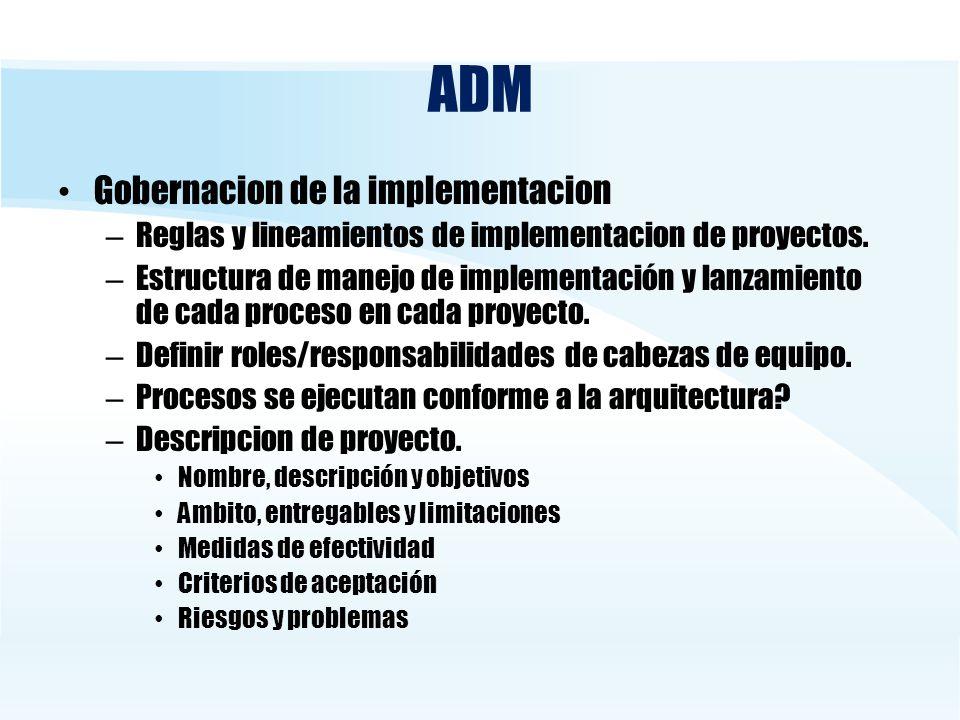 ADM Gobernacion de la implementacion – Reglas y lineamientos de implementacion de proyectos. – Estructura de manejo de implementación y lanzamiento de
