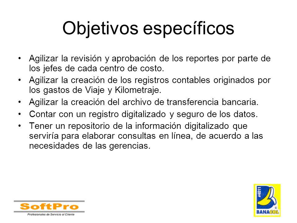 Objetivos específicos Agilizar la revisión y aprobación de los reportes por parte de los jefes de cada centro de costo. Agilizar la creación de los re