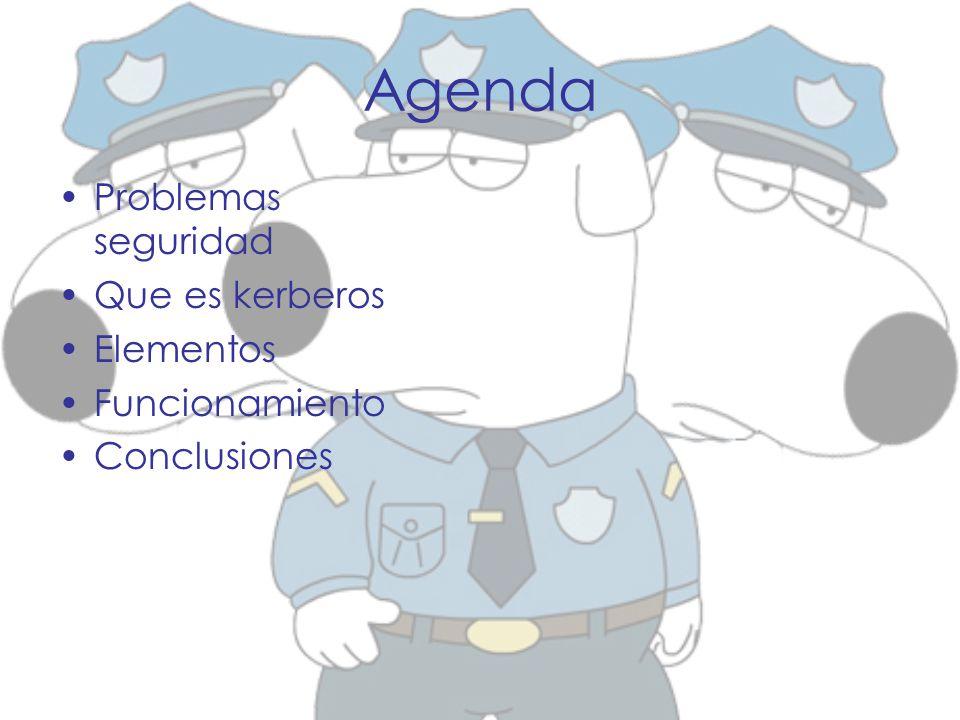Agenda Problemas seguridad Que es kerberos Elementos Funcionamiento Conclusiones