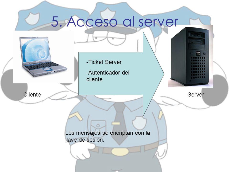 5. Acceso al server -Ticket Server -Autenticador del cliente ClienteServer Los mensajes se encriptan con la llave de sesión.