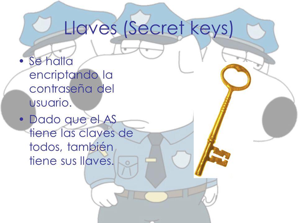 Llaves (Secret keys) Se halla encriptando la contraseña del usuario. Dado que el AS tiene las claves de todos, también tiene sus llaves.