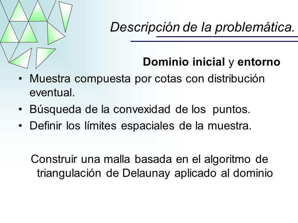 Dominio inicial y entorno Muestra compuesta por cotas con distribución eventual. Búsqueda de la convexidad de los puntos. Definir los límites espacial