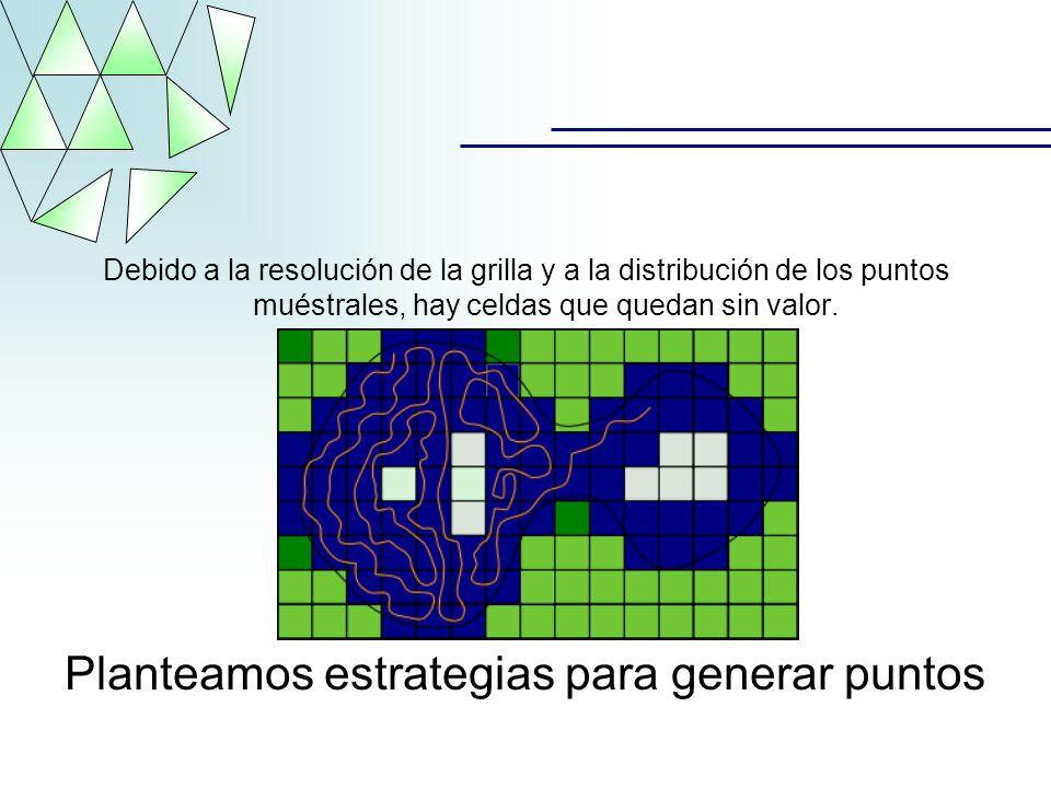 Debido a la resolución de la grilla y a la distribución de los puntos muéstrales, hay celdas que quedan sin valor. Planteamos estrategias para generar