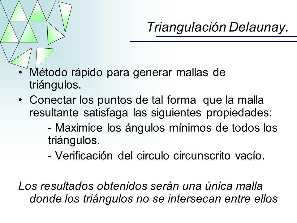 Triangulación Delaunay. Método rápido para generar mallas de triángulos. Conectar los puntos de tal forma que la malla resultante satisfaga las siguie