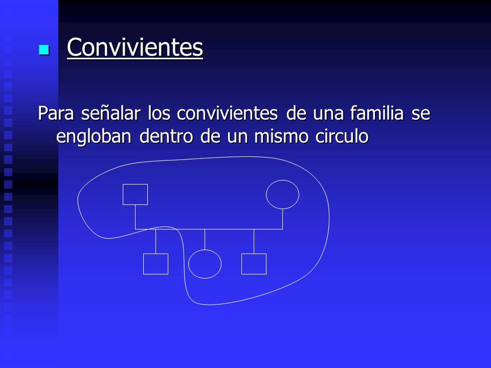 Convivientes Convivientes Para señalar los convivientes de una familia se engloban dentro de un mismo circulo