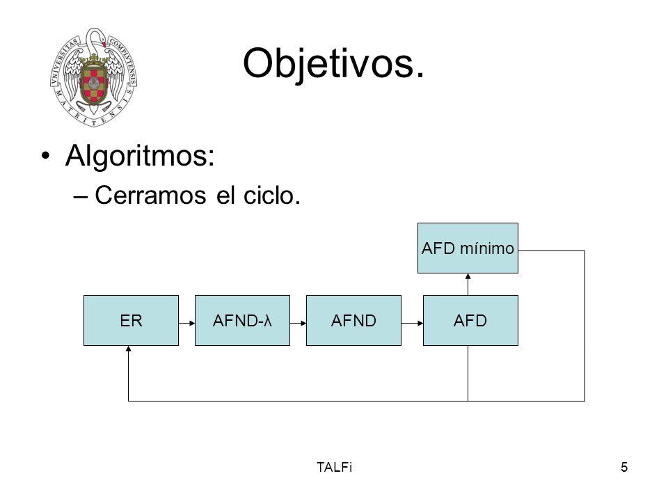 TALFi5 Objetivos. Algoritmos: –Cerramos el ciclo. ER AFD mínimo AFNDAFDAFND-λ