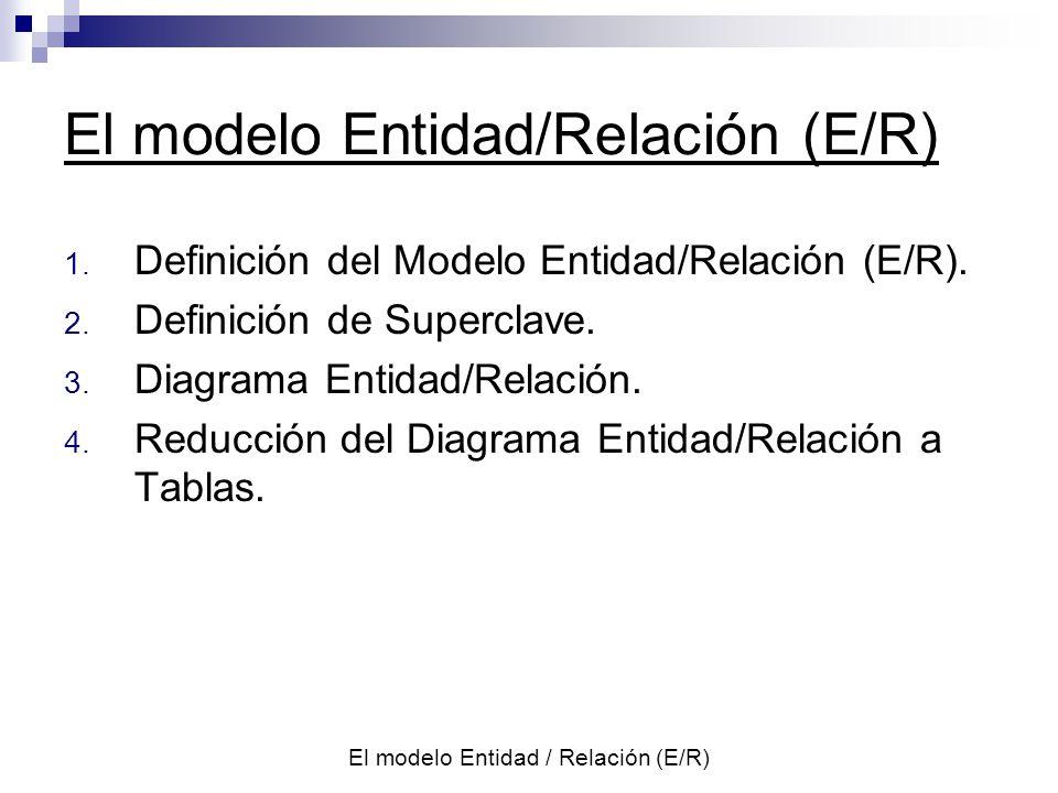 El modelo Entidad / Relación (E/R) c : c Un vendedor puede actuar o no en una zona, y en una zona puede actuar uno o ningún vendedor.