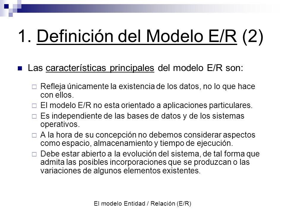 El modelo Entidad / Relación (E/R) 1 : m1 : n Un vendedor actúa en una o varias zonas y en una zona actúa un vendedor (1:m).