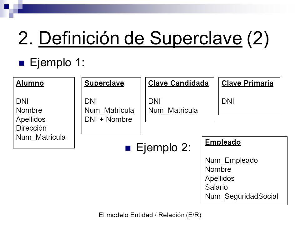 El modelo Entidad / Relación (E/R) 4.Reducc. del Diagr.