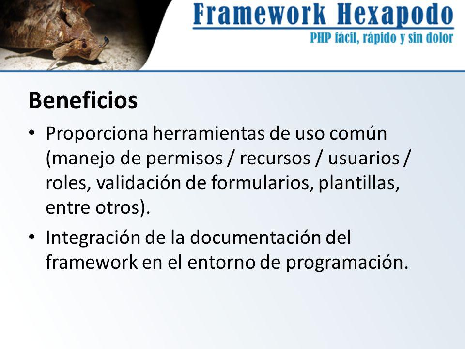 Beneficios Proporciona herramientas de uso común (manejo de permisos / recursos / usuarios / roles, validación de formularios, plantillas, entre otros