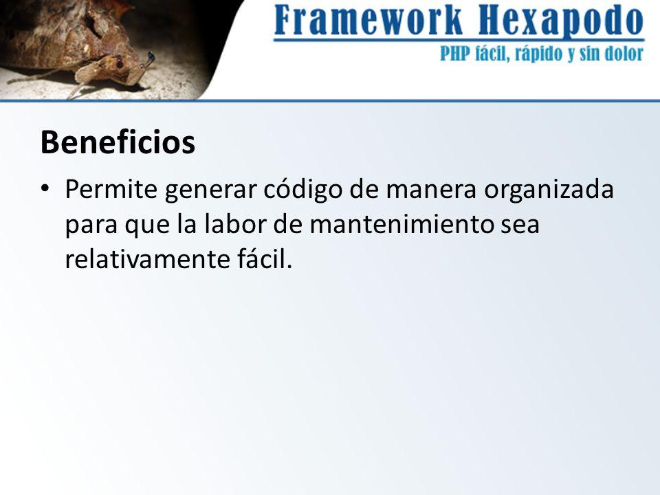 Beneficios Permite generar código de manera organizada para que la labor de mantenimiento sea relativamente fácil.