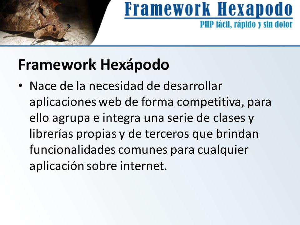 Framework Hexápodo Nace de la necesidad de desarrollar aplicaciones web de forma competitiva, para ello agrupa e integra una serie de clases y librerí