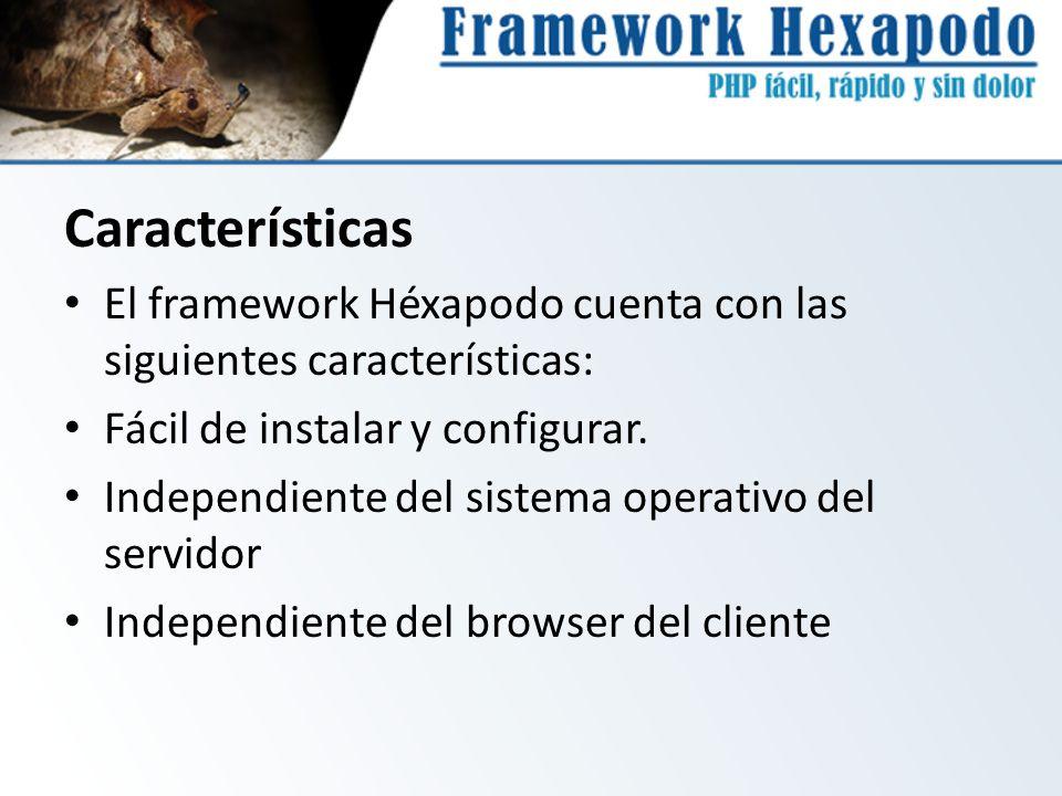 Características El framework Héxapodo cuenta con las siguientes características: Fácil de instalar y configurar. Independiente del sistema operativo d