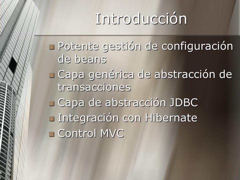 Introducción Potente gestión de configuración de beans Potente gestión de configuración de beans Capa genérica de abstracción de transacciones Capa ge