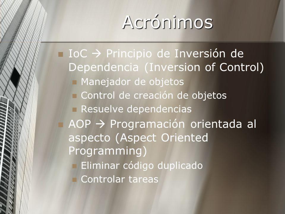 Acrónimos IoC Principio de Inversión de Dependencia (Inversion of Control) Manejador de objetos Control de creación de objetos Resuelve dependencias A
