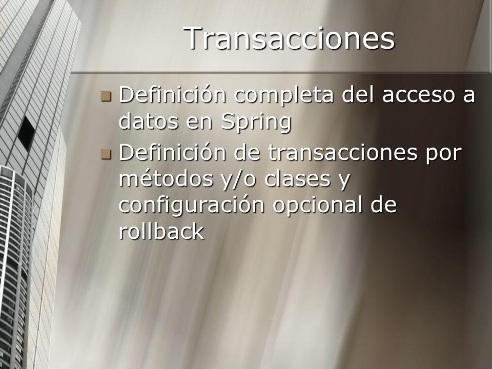 Transacciones Definición completa del acceso a datos en Spring Definición completa del acceso a datos en Spring Definición de transacciones por método