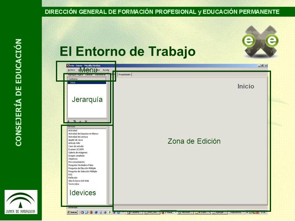 El Entorno de Trabajo Zona de Edición Idevices Jerarquía Menú