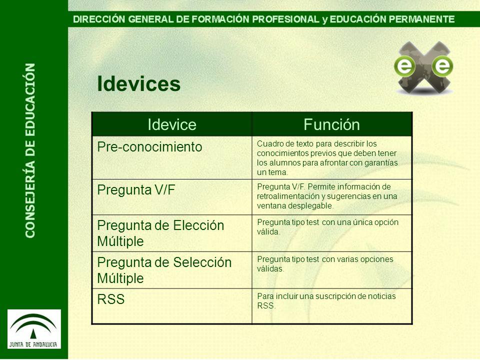 Idevices IdeviceFunción Pre-conocimiento Cuadro de texto para describir los conocimientos previos que deben tener los alumnos para afrontar con garant