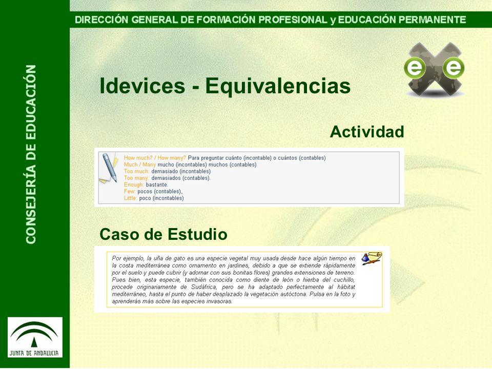 Idevices - Equivalencias Actividad Caso de Estudio