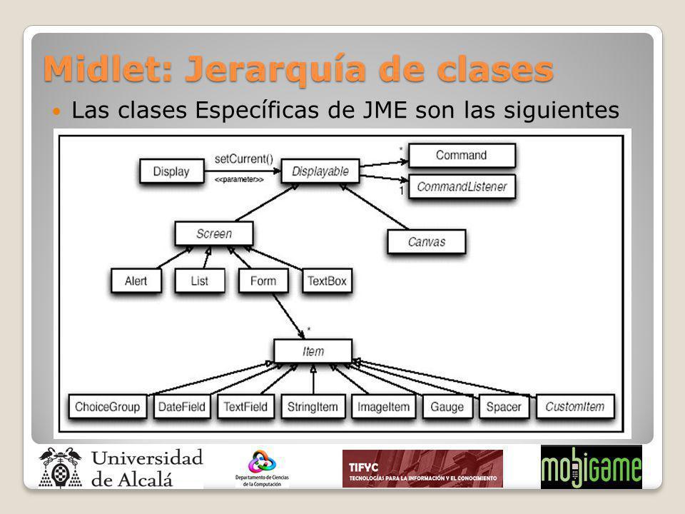 Midlet: Jerarquía de clases Las clases Específicas de JME son las siguientes