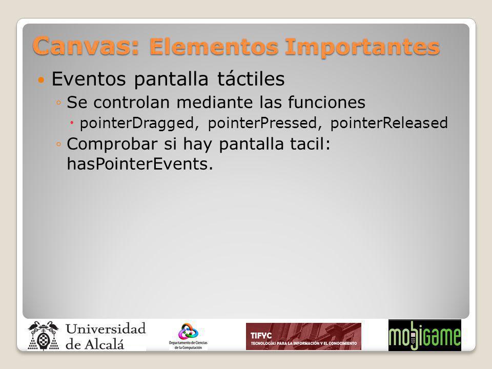 Canvas: Elementos Importantes Eventos pantalla táctiles Se controlan mediante las funciones pointerDragged, pointerPressed, pointerReleased Comprobar