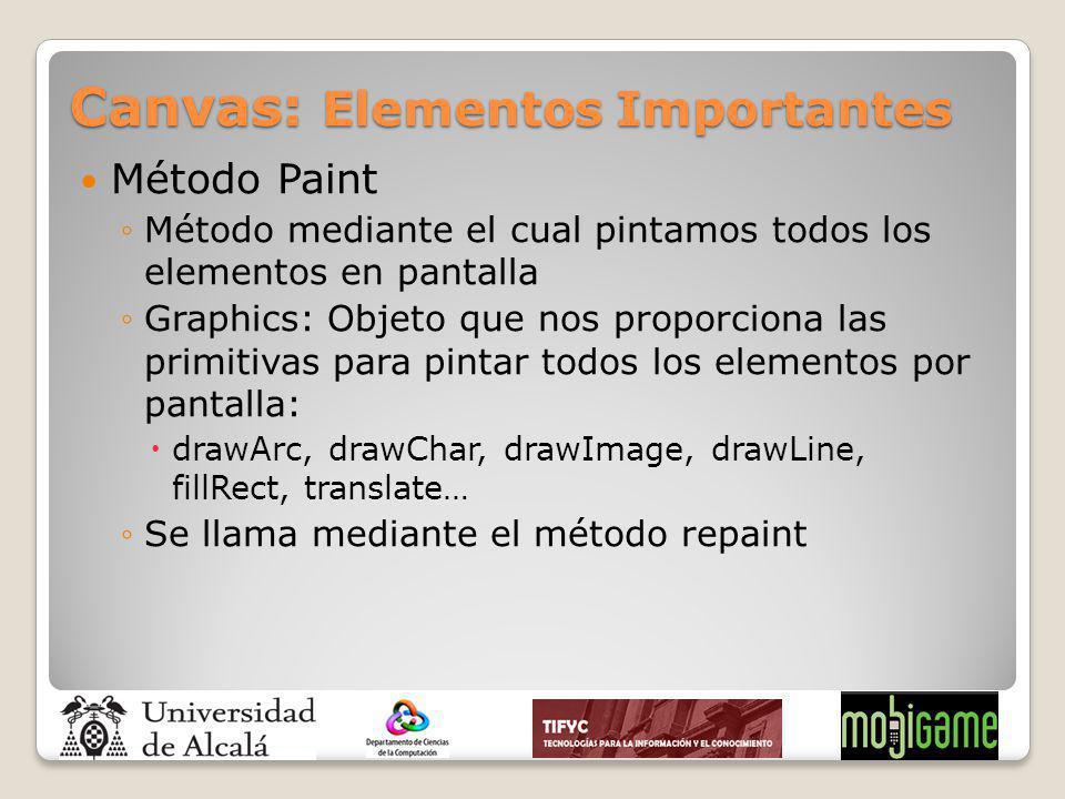 Canvas: Elementos Importantes Método Paint Método mediante el cual pintamos todos los elementos en pantalla Graphics: Objeto que nos proporciona las p
