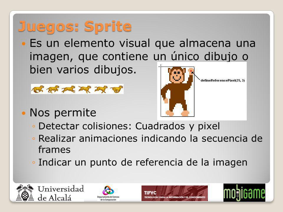 Juegos: Sprite Es un elemento visual que almacena una imagen, que contiene un único dibujo o bien varios dibujos. Nos permite Detectar colisiones: Cua