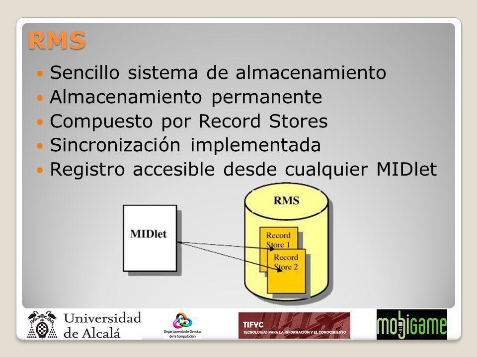 RMS Sencillo sistema de almacenamiento Almacenamiento permanente Compuesto por Record Stores Sincronización implementada Registro accesible desde cual