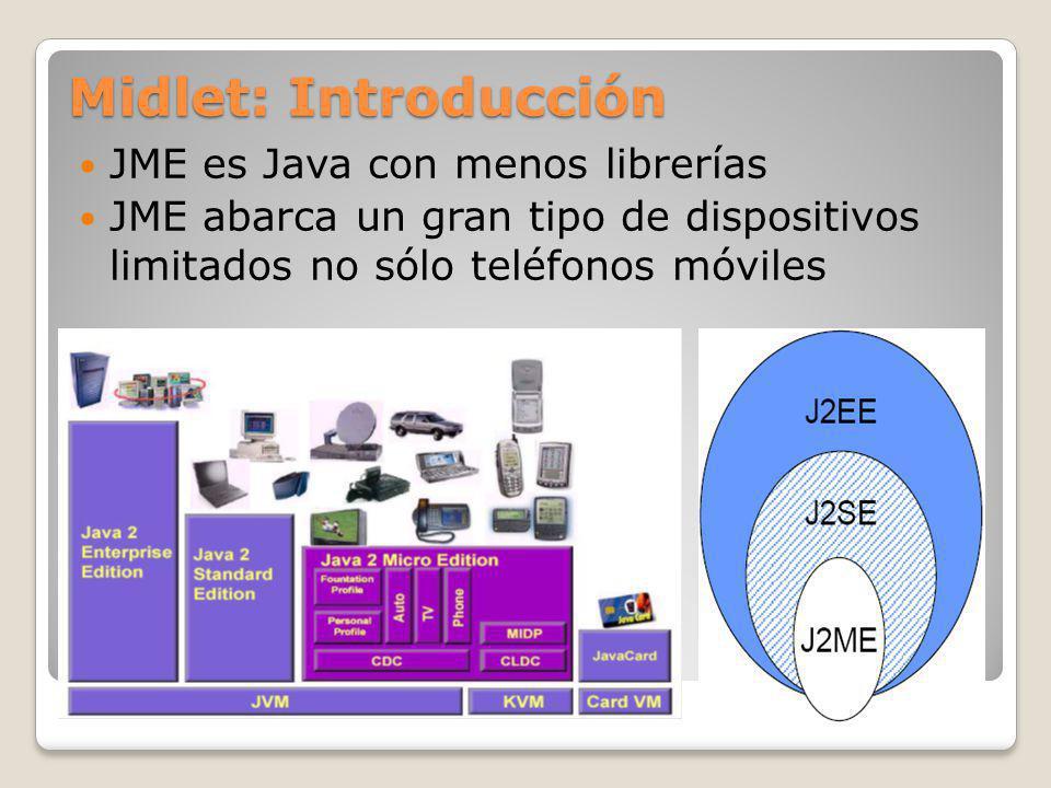 Midlet: Introducción JME es Java con menos librerías JME abarca un gran tipo de dispositivos limitados no sólo teléfonos móviles