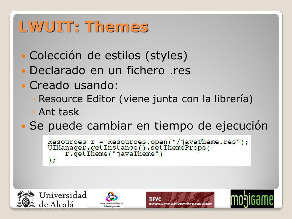 Colección de estilos (styles) Declarado en un fichero.res Creado usando: Resource Editor (viene junta con la librería) Ant task Se puede cambiar en ti