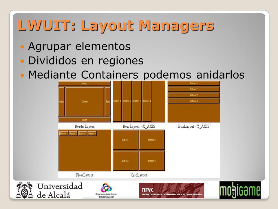Agrupar elementos Divididos en regiones Mediante Containers podemos anidarlos LWUIT: Layout Managers