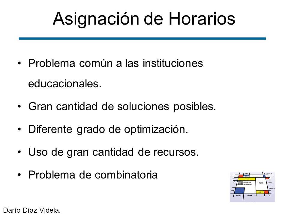 Asignación de Horarios Problema común a las instituciones educacionales. Gran cantidad de soluciones posibles. Diferente grado de optimización. Uso de