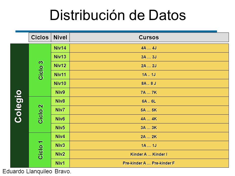 Distribución de DatosColegio Ciclo 1 Ciclo 3 Ciclo 2 Ciclos Niv1 Niv2 Niv3 Niv4 Niv5 Niv6 Niv7 Niv8 Niv9 Niv10 Niv11 Niv12 Niv13 Niv14 Nivel Pre-kinde