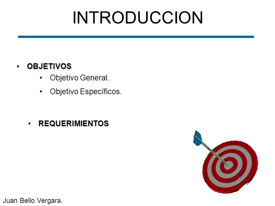 OBJETIVOSOBJETIVOS INTRODUCCION Objetivo General. Objetivo Específicos. REQUERIMIENTOSREQUERIMIENTOS Juan Bello Vergara.