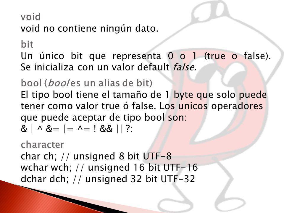 void void no contiene ningún dato.bit Un único bit que representa 0 o 1 (true o false).