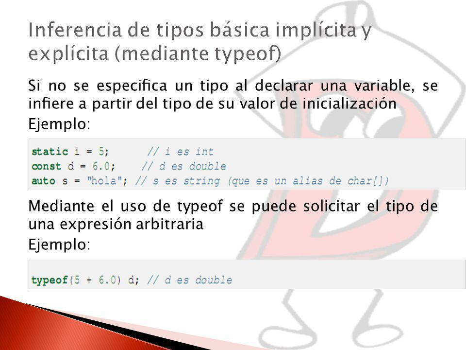 Delegados void foo( int a ) { void bar() { writefln( a ); } void delegate() dg; dg = &bar; call( dg ); } void call( void delegate() dg ) { dg(); } void main( char[][] args ) { foo( 100 ); } -Similares a los punteros a métodos C++ -Compuesto por referencia a objeto (this) y puntero a función -Scope en el nivel donde fue creado