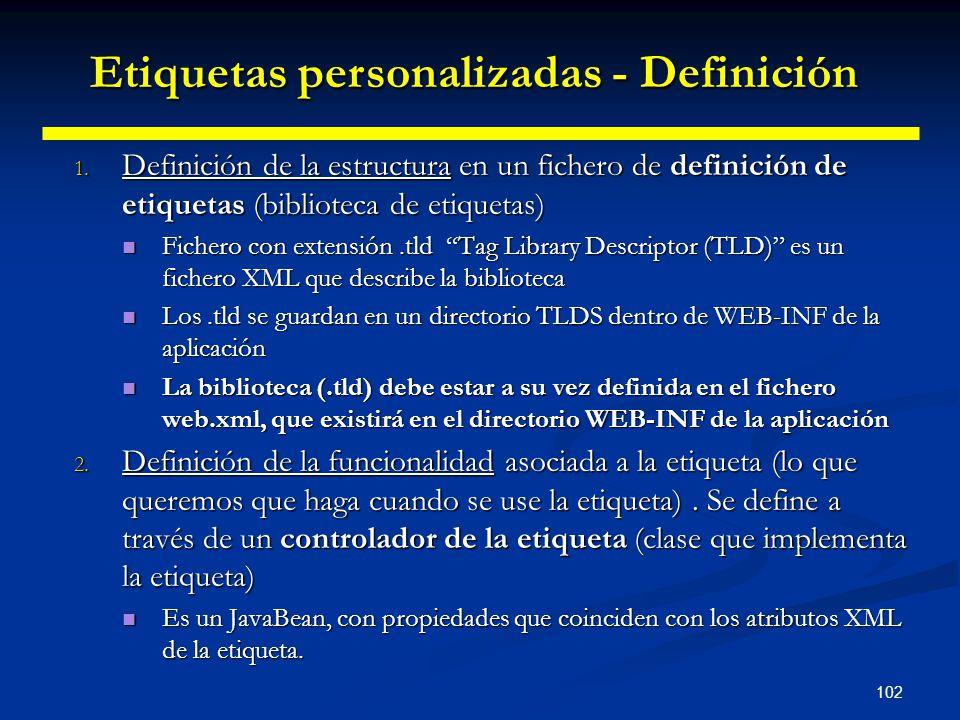 102 1. Definición de la estructura en un fichero de definición de etiquetas (biblioteca de etiquetas) Fichero con extensión.tld Tag Library Descriptor