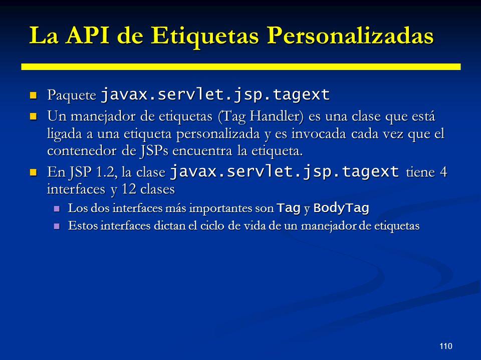 110 La API de Etiquetas Personalizadas Paquete javax.servlet.jsp.tagext Paquete javax.servlet.jsp.tagext Un manejador de etiquetas (Tag Handler) es un