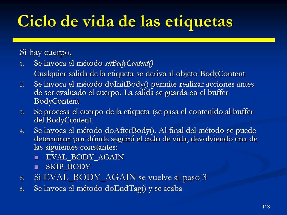 113 Ciclo de vida de las etiquetas Si hay cuerpo, 1. Se invoca el método setBodyContent() Cualquier salida de la etiqueta se deriva al objeto BodyCont