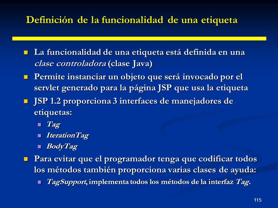 115 La funcionalidad de una etiqueta está definida en una clase controladora (clase Java) La funcionalidad de una etiqueta está definida en una clase