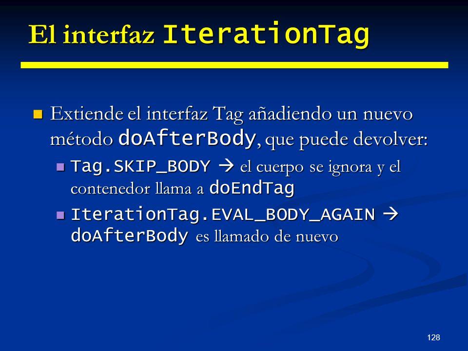 128 El interfaz IterationTag Extiende el interfaz Tag añadiendo un nuevo método doAfterBody, que puede devolver: Extiende el interfaz Tag añadiendo un