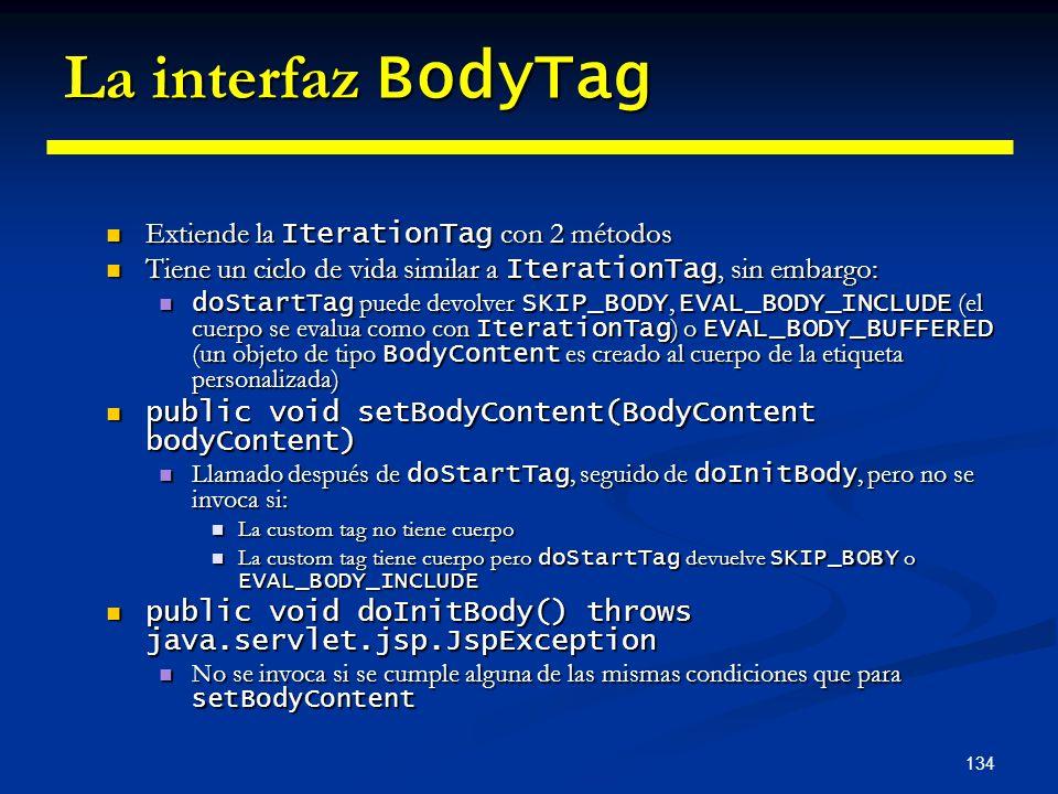 134 La interfaz BodyTag Extiende la IterationTag con 2 métodos Extiende la IterationTag con 2 métodos Tiene un ciclo de vida similar a IterationTag, s
